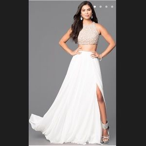 Ivory Two Piece Prom Dress with Embellished Top